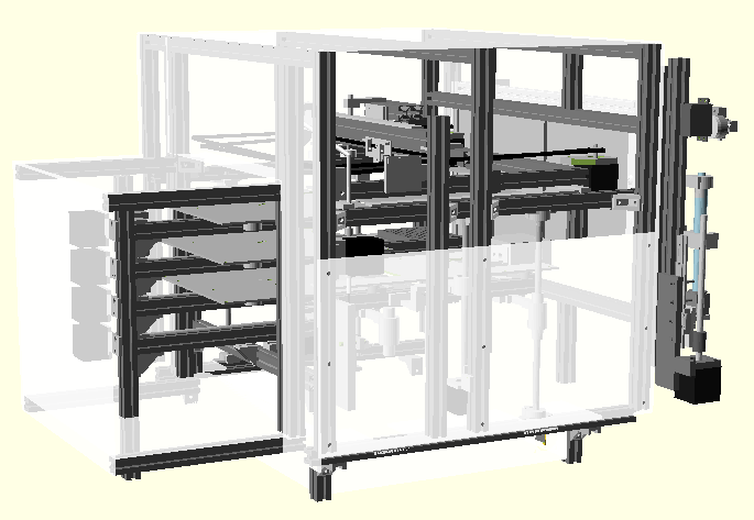 3D printing conveying system side view