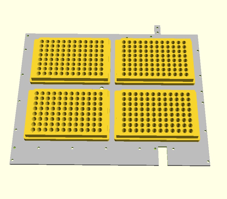 deck holding 4 microwell plates