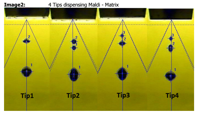 stroboscope detection of dispensed MALDI matrix